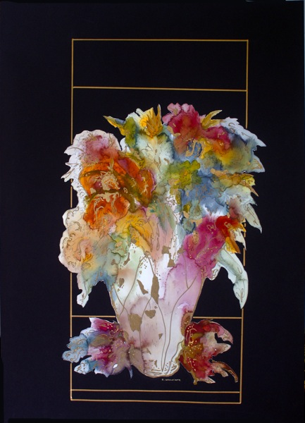 Golden Lear Floral In Vase